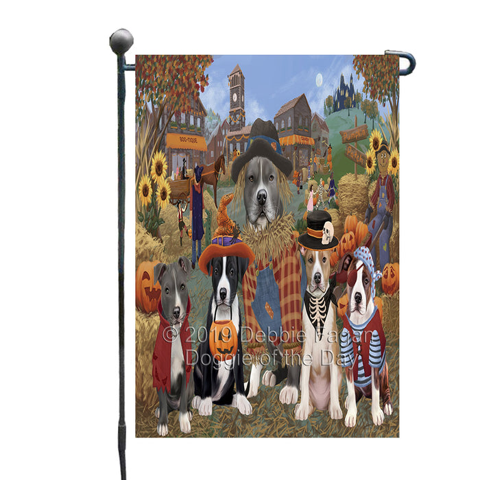 Halloween 'Round Town And Fall Pumpkin Scarecrow Both American Staffordshire Dogs Garden Flag GFLG65561
