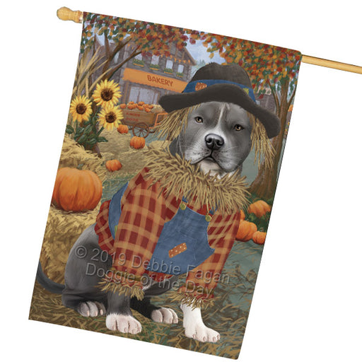 Halloween Round Town And Fall Pumpking Scarecrow Both American Staffordshire Dogs Garden Flag GFLG65622