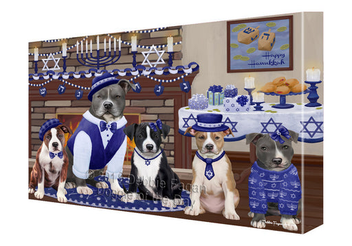 Happy Hanukkah Family and Happy Hanukkah Both American Staffordshire Dogs Canvas Print Wall Art Décor CVS140840