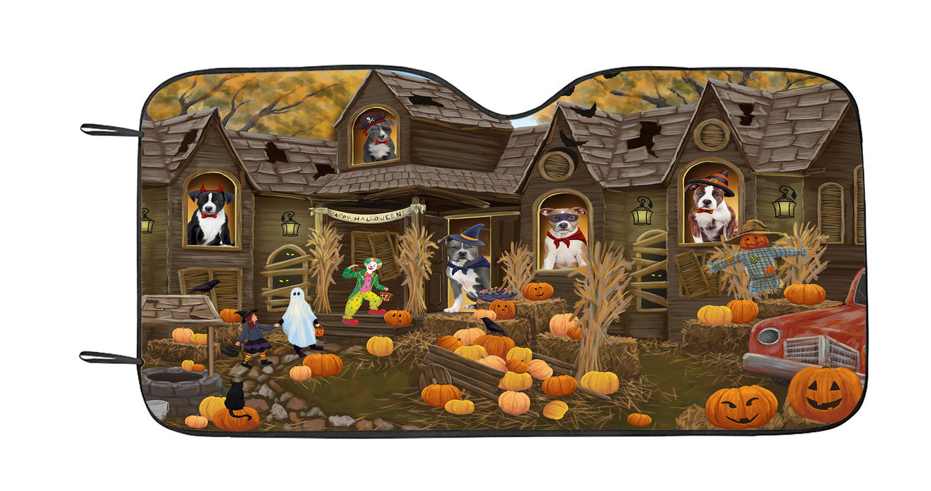 Haunted House Halloween Trick or Treat American Staffordshire Dogs Car Sun Shade