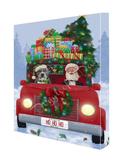 Christmas Honk Honk Here Comes Santa with American Staffordshire Dog Canvas Print Wall Art Décor CVS146537