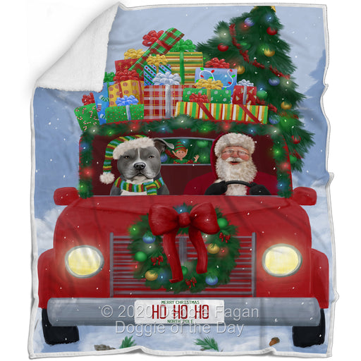 Christmas Honk Honk Red Truck Here Comes with Santa and American Staffordshire Dog Blanket BLNKT140703