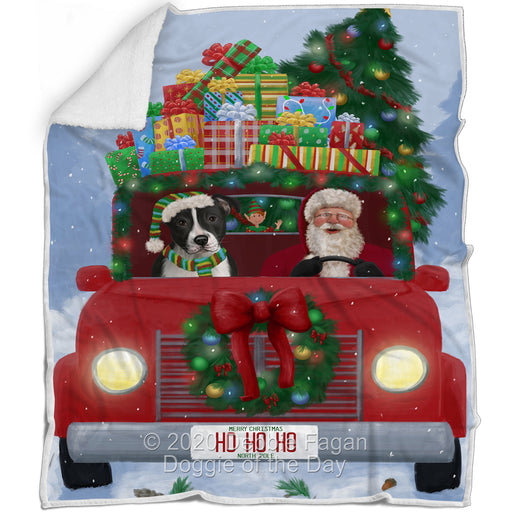 Christmas Honk Honk Red Truck Here Comes with Santa and American Staffordshire Dog Blanket BLNKT140708