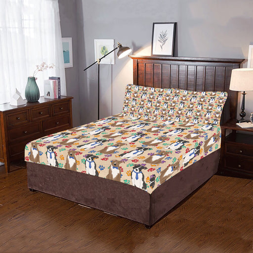 Rainbow Paw Print American Staffordshire Dogs Blue 3-Piece Bedding Set