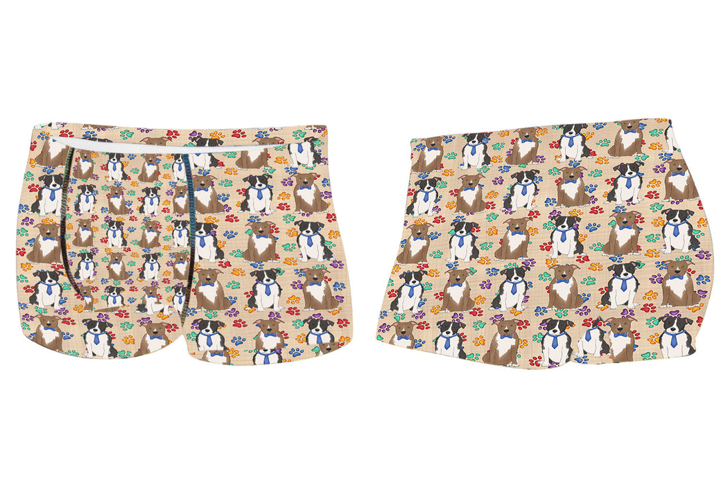 Rainbow Paw Print American Staffordshire Dogs BlueMen's All Over Print Boxer Briefs