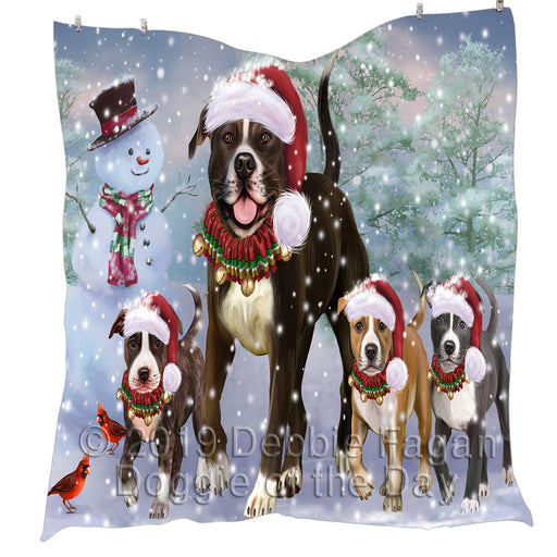 Christmas Running Fammily American Staffordshire Terrier Dogs Quilt