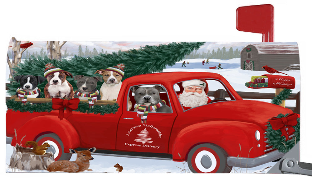 Magnetic Mailbox Cover Christmas Santa Express Delivery American Staffordshire Terriers Dog MBC48284