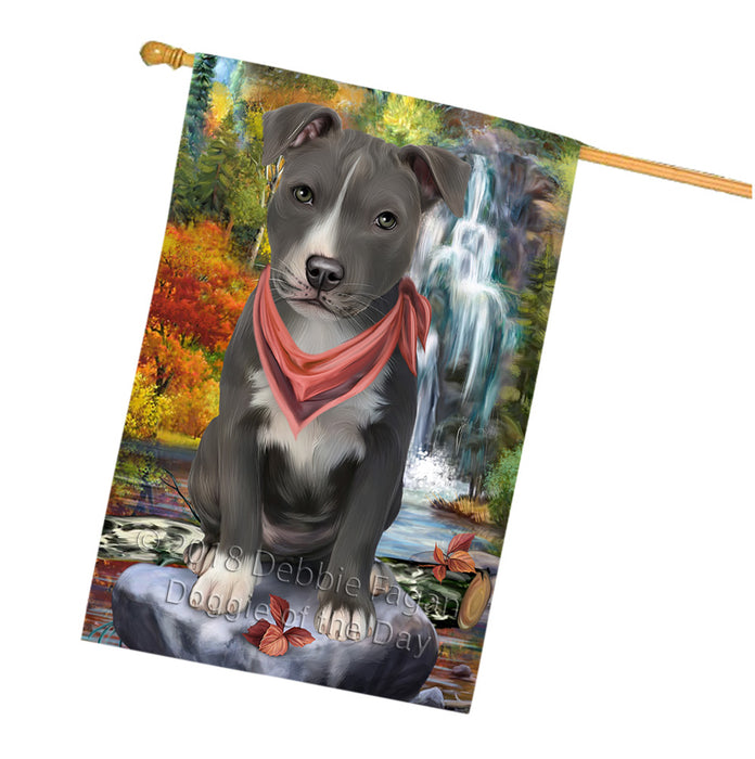 Scenic Waterfall American Staffordshire Terrier Dog House Flag FLG51936