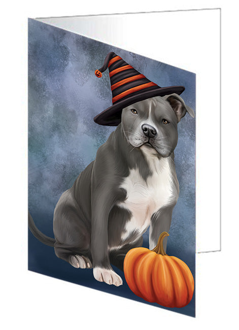 Happy Halloween American Staffordshire Terrier Dog Wearing Witch Hat with Pumpkin Note Card NCD68543
