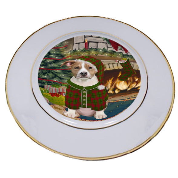 The Stocking was Hung American Staffordshire Terrier Dog Porcelain Plate PLT53514