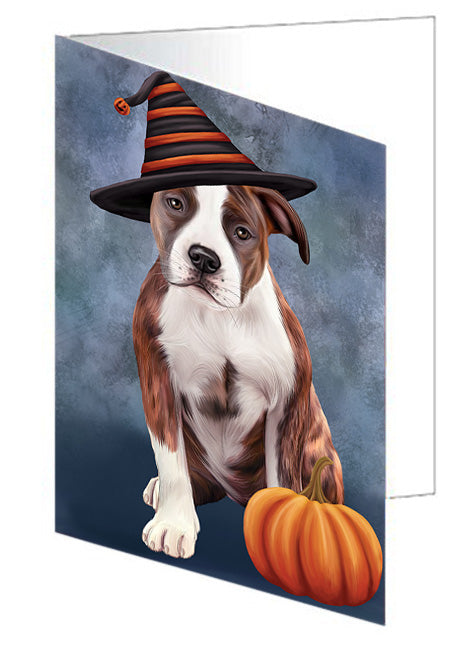Happy Halloween American Staffordshire Terrier Dog Wearing Witch Hat with Pumpkin Note Card NCD68546