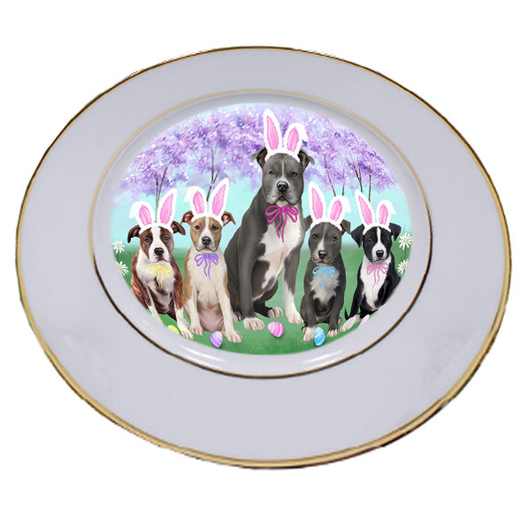 Easter Holiday American Staffordshire Terriers Dog Porcelain Plate PLT55258