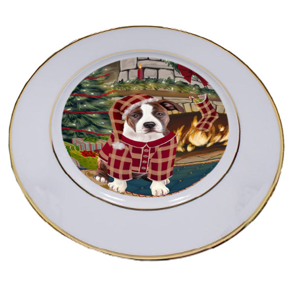The Stocking was Hung American Staffordshire Terrier Dog Porcelain Plate PLT53515