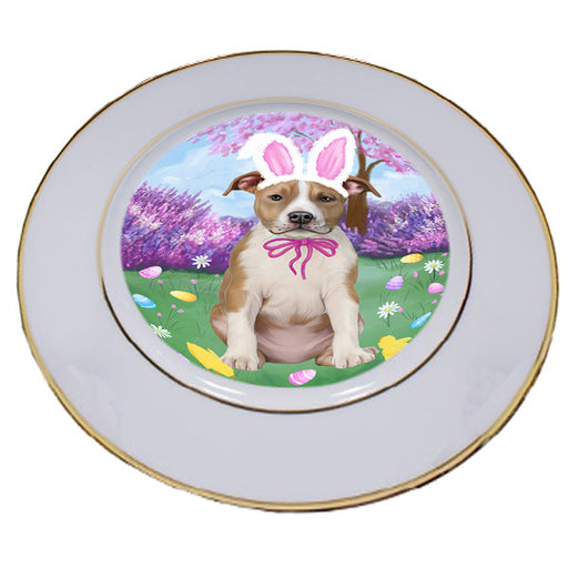 Easter Holiday American Staffordshire Terrier Dog Porcelain Plate PLT55259