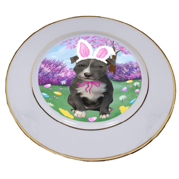 Easter Holiday American Staffordshire Terrier Dog Porcelain Plate PLT55260