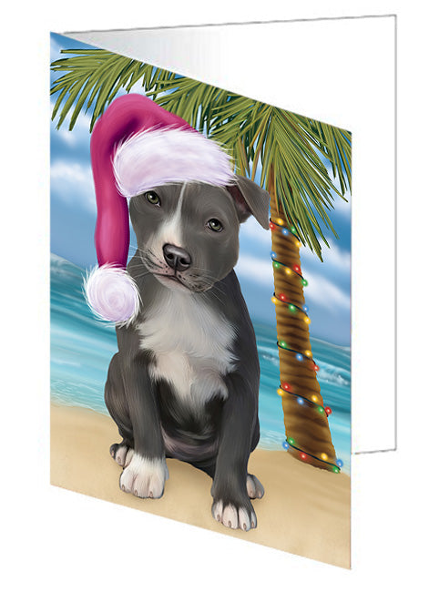 Summertime Happy Holidays Christmas American Staffordshire Terrier Dog on Tropical Island Beach Note Card NCD67616