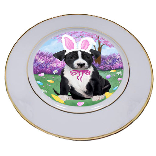 Easter Holiday American Staffordshire Terrier Dog Porcelain Plate PLT55261