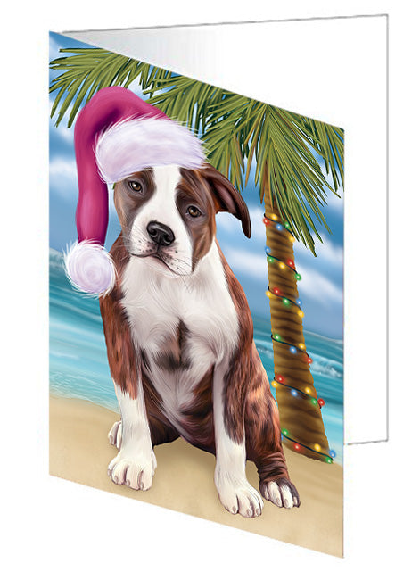 Summertime Happy Holidays Christmas American Staffordshire Terrier Dog on Tropical Island Beach Note Card NCD67619