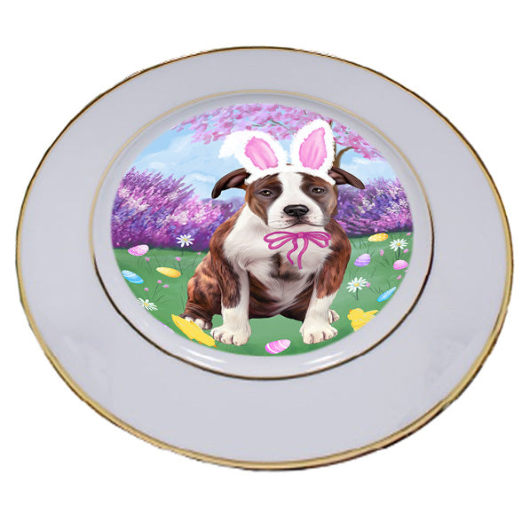 Easter Holiday American Staffordshire Terrier Dog Porcelain Plate PLT55262