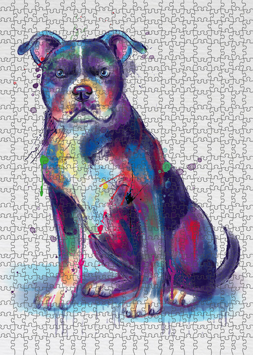 Watercolor American Staffordshire Terrier Dog Puzzle with Photo Tin PUZL97080