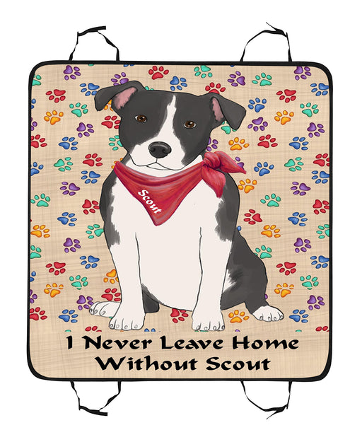 Personalized I Never Leave Home Paw Print American Staffordshire Terrier Dogs Pet Back Car Seat Cover