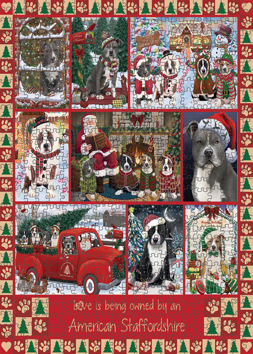 Love is Being Owned Christmas American Staffordshire Terrier Dogs Puzzle with Photo Tin PUZL99236