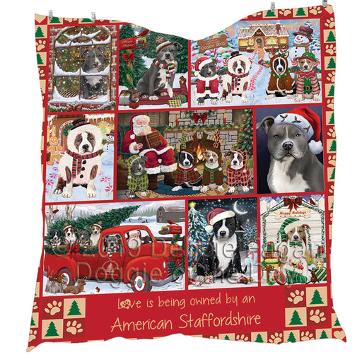 Love is Being Owned Christmas American Staffordshire Terrier Dogs Quilt