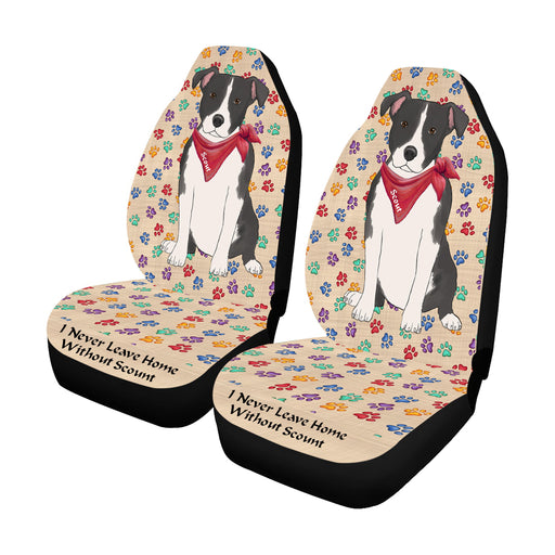 Personalized I Never Leave Home Paw Print American Staffordshire Terrier Dogs Pet Front Car Seat Cover (Set of 2)