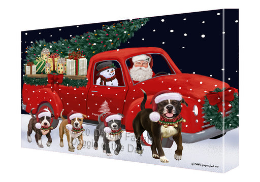 Christmas Express Delivery Red Truck Running American Staffordshire Dogs Canvas Print Wall Art Décor CVS145817