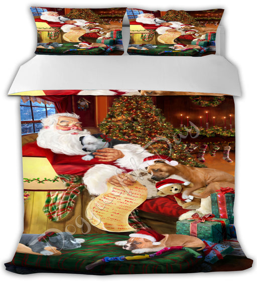 Santa Sleeping with American Staffordshire Dogs Bed Comforter CMFTR49351