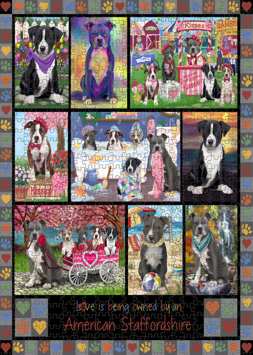 Love is Being Owned American Staffordshire Terrier Dog Grey Puzzle with Photo Tin PUZL98184