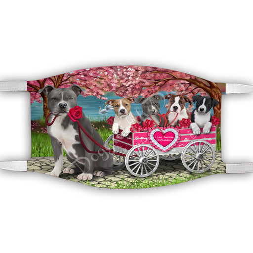 I Love American Staffordshire Dogs in a Cart Face Mask FM48108