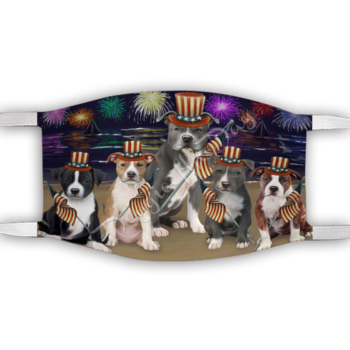 4th of July Independence Day American Staffordshire Dogs Face Mask FM49367
