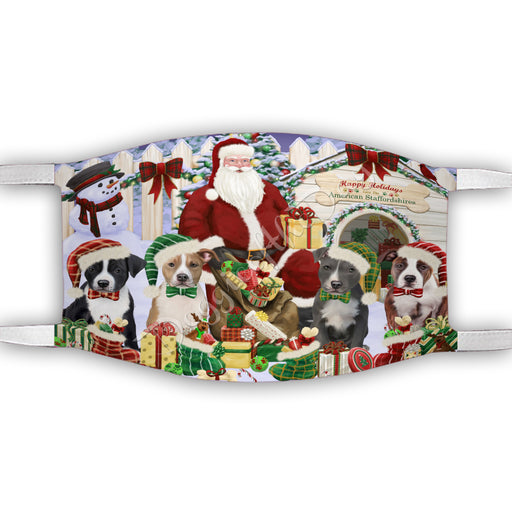 Happy Holidays Christmas American Staffordshire Dogs House Gathering Face Mask FM48210