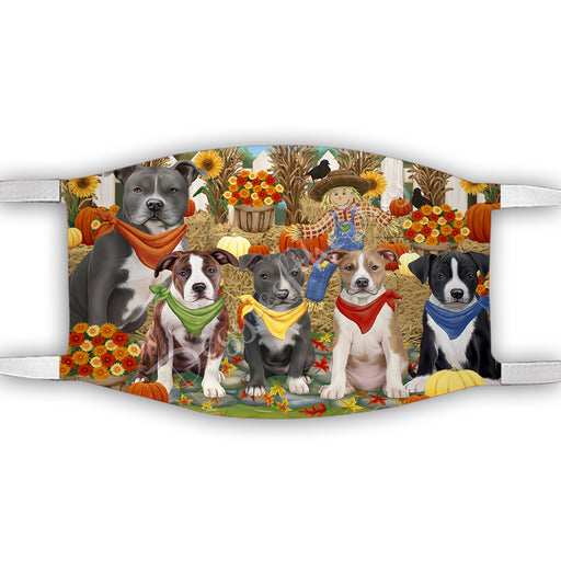 Fall Festive Harvest Time Gathering  American Staffordshire Dogs Face Mask FM48499