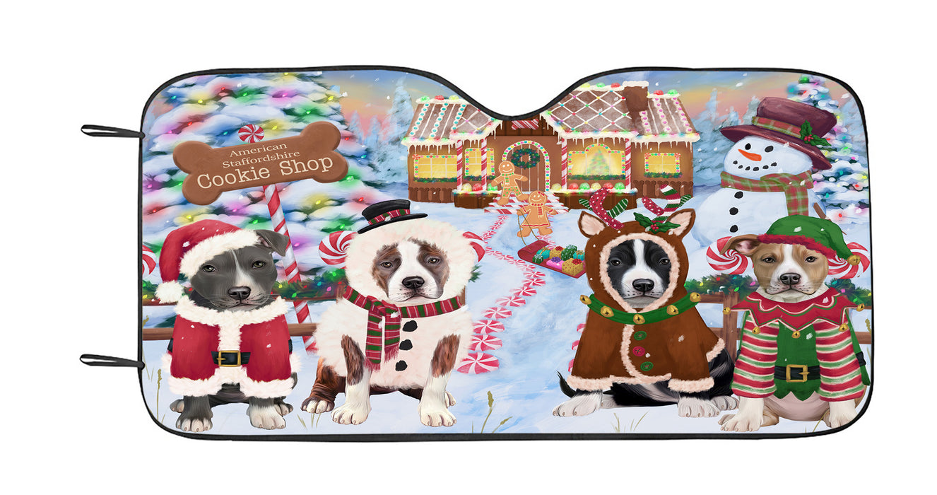 Holiday Gingerbread Cookie American Staffordshire Dogs Car Sun Shade