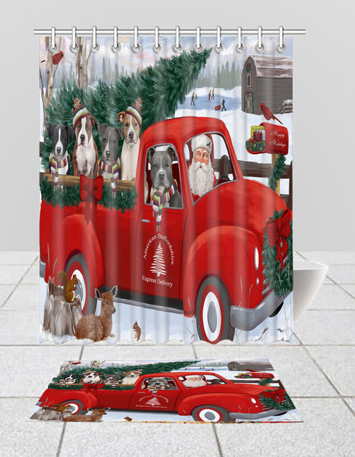 Christmas Santa Express Delivery Red Truck American Staffordshire Dogs Bath Mat and Shower Curtain Combo