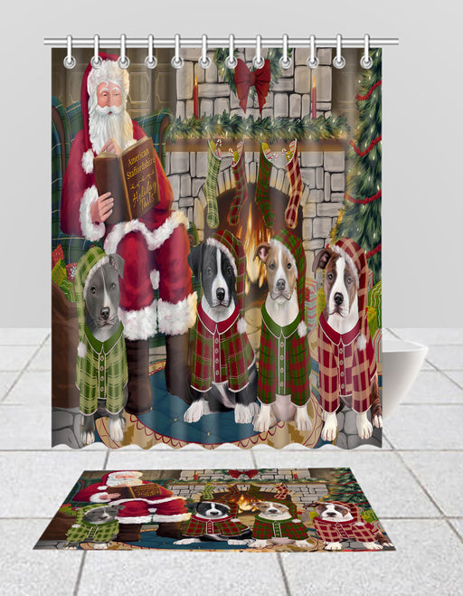Christmas Cozy Holiday Fire Tails American Staffordshire Dogs Bath Mat and Shower Curtain Combo