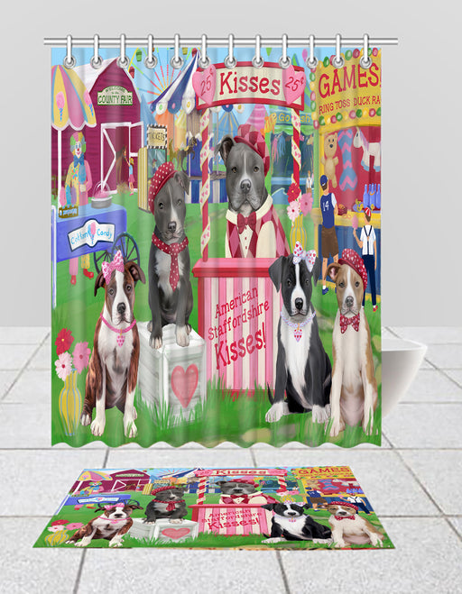 Carnival Kissing Booth American Staffordshire Dogs  Bath Mat and Shower Curtain Combo