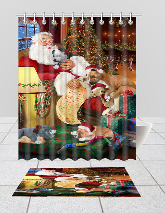 Santa Sleeping with American Staffordshire Dogs  Bath Mat and Shower Curtain Combo