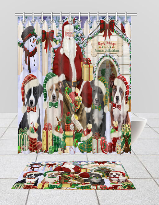 Happy Holidays Christma American Staffordshire Dogs House Gathering Bath Mat and Shower Curtain Combo