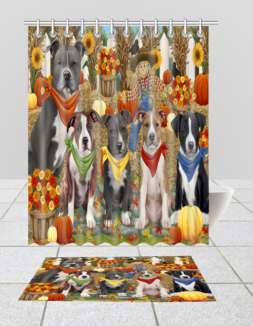 Fall Festive Harvest Time Gathering American Staffordshire Dogs Bath Mat and Shower Curtain Combo
