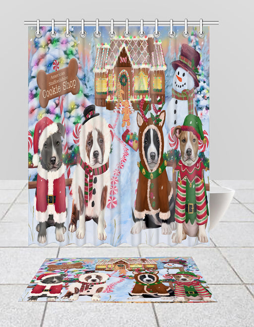 Holiday Gingerbread Cookie American Staffordshire Dogs  Bath Mat and Shower Curtain Combo