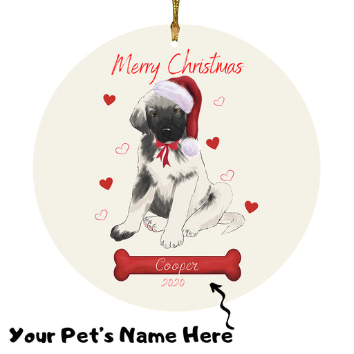 Personalized Merry Christmas  Anatolian Shepherd Dog Christmas Tree Round Flat Ornament RBPOR58897