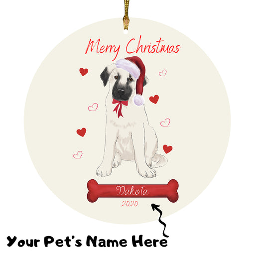 Personalized Merry Christmas Anatolian Shepherd Dog Christmas Tree Round Flat Ornament RBPOR58898