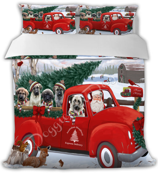 Christmas Santa Express Delivery Red Truck Anatolian Shepherd Dogs Bed Comforter CMFTR48056