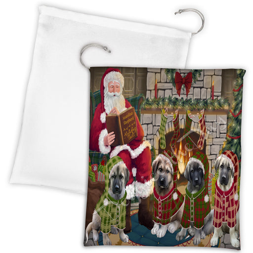 Christmas Cozy Holiday Fire Tails Anatolian Shepherd Dogs Drawstring Laundry or Gift Bag LGB48464