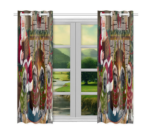 Christmas Cozy Holiday Fire Tails Anatolian Shepherd Dogs Window Curtain