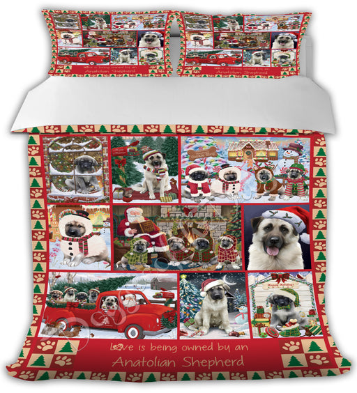 Love is Being Owned Christmas Anatolian Shepherd Dogs Bed Comforter CMFTR48728
