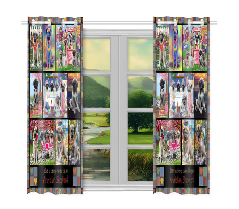 Love is Being Owned Anatolian Shepherd Dog Grey Window Curtain